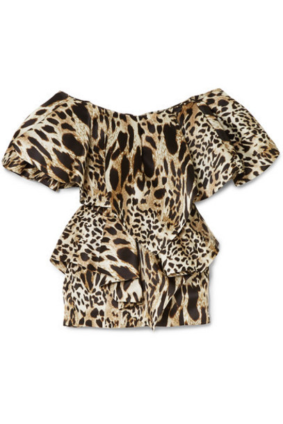 Alexandre Vauthier - Off-the-shoulder Ruffled Animal-print Silk Mini Dress - Leopard print