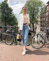 jeans,straight jeans,high waisted jeans,white blazer,converse,bag,striped top