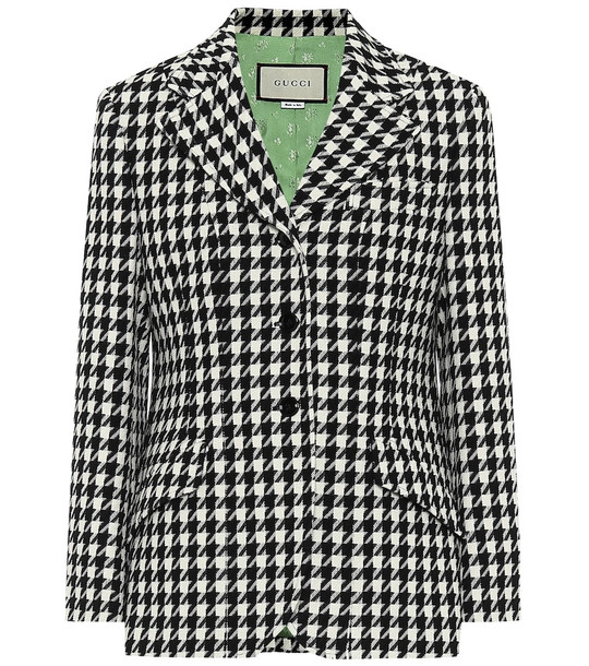 Gucci Wool and cotton houndstooth blazer in black