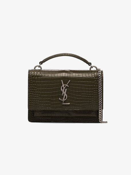 Saint Laurent green small Sunset croc-effect shoulder bag