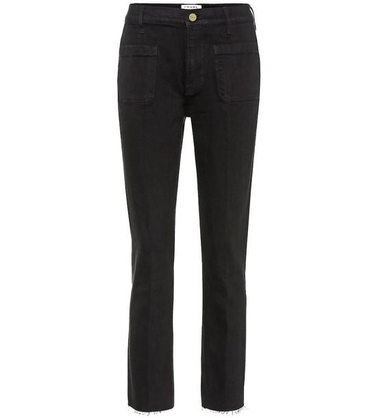 Frame Le Bardot cropped flared jeans in black