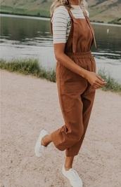 jumpsuit,brown jumpsuit,brown overalls,overalls
