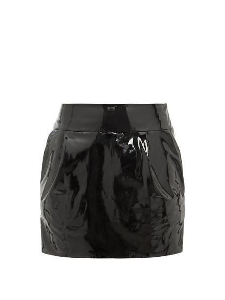 Alexandre Vauthier - Patent Leather Mini Skirt - Womens - Black