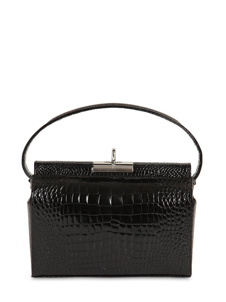 GU DE Milky Croc Embossed Leather Bag in black