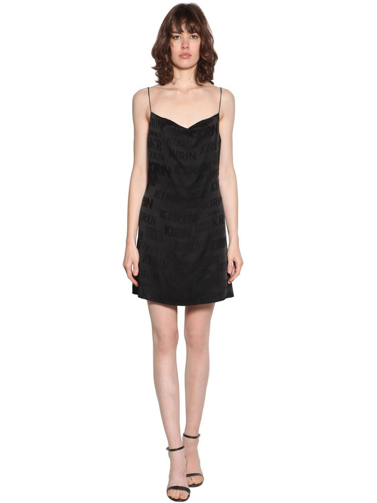 KIRIN Logo Satin Jacquard Mini Dress in black