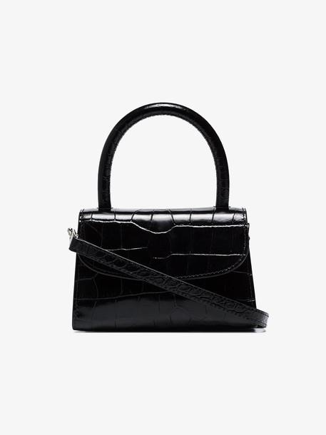 by FAR mini croc-effect leather bag in black