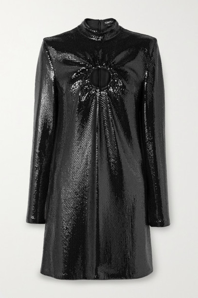 TOM FORD - Cutout Sequined Jersey Mini Dress - Black