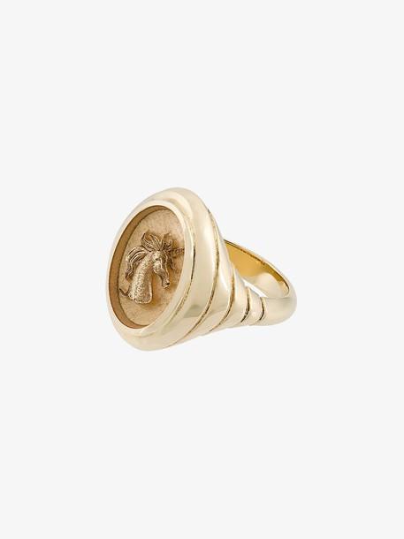 Retrouvai 14kt gold unicorn signet ring