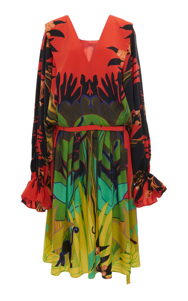 Valentino Printed Long Sleeved Silk Midi Dress Size: 36 in multi