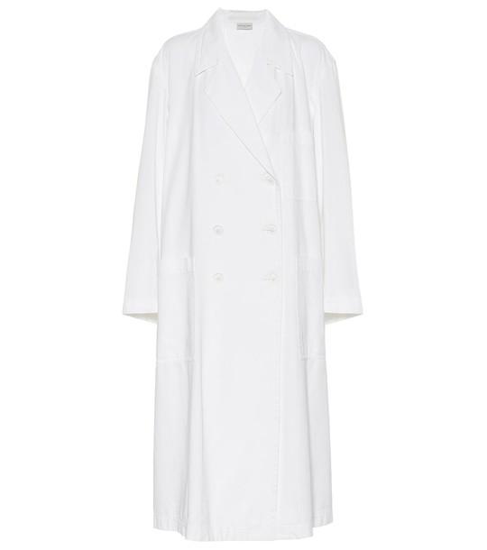 Dries Van Noten Cotton twill trench coat in white