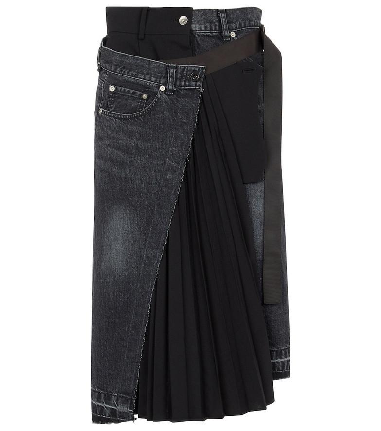sacai High-rise denim midi skirt in black