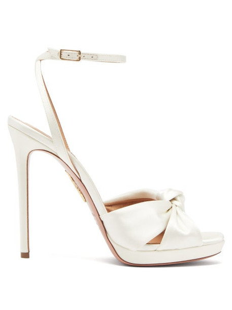 Aquazzura - Chance Knotted Satin Sandals - Womens - Ivory