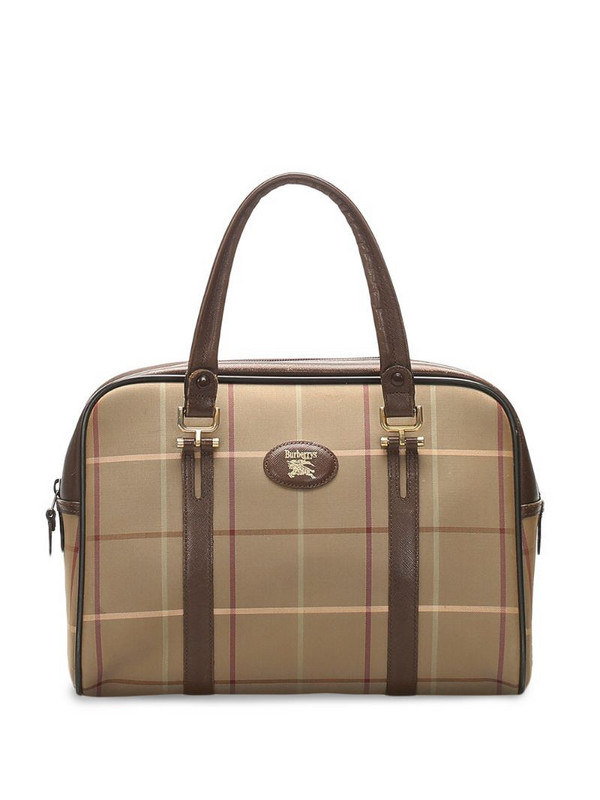 Burberry Pre-Owned logo patch plaid tote bag in brown