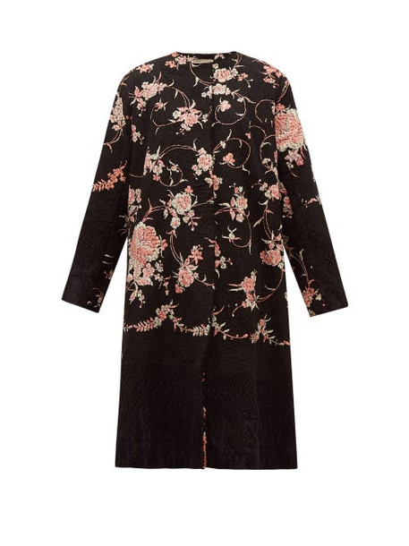 By Walid - Tanita 19th Century Floral Embroidered Silk Coat - Womens - Black Pink