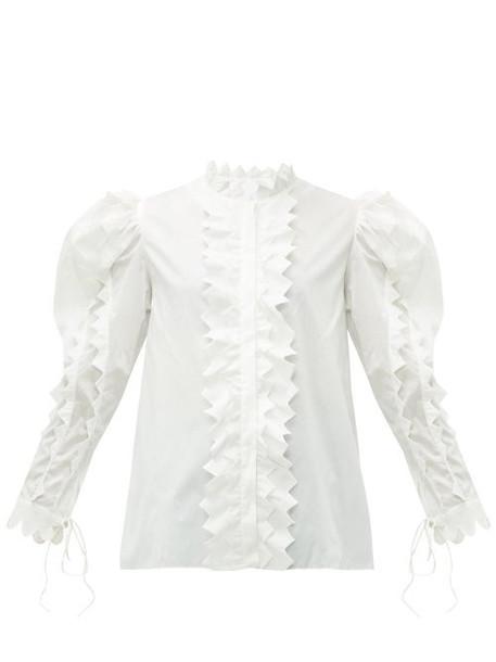 Horror Vacui - Triangula Puffed Sleeve Cotton Blouse - Womens - White