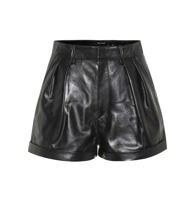 Isabel Marant Fabot high-rise leather shorts in black