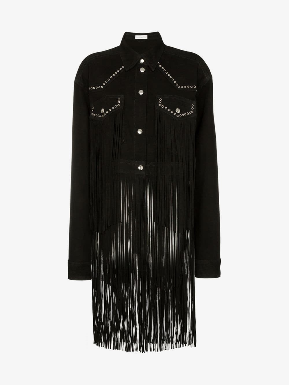 Faith Connexion fringed studded suede jacket in black