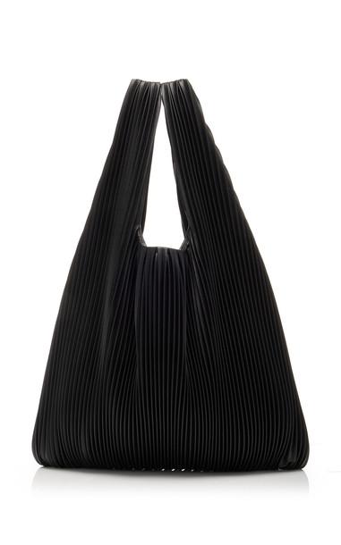 Nanushka Jo Pleated Vegan Leather Shopper Tote in black