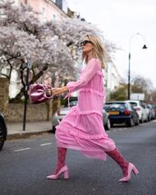 dress,pink dress,mini dress,long sleeve dress,chiffon,topshop,tights,pumps,pink bag,handbag