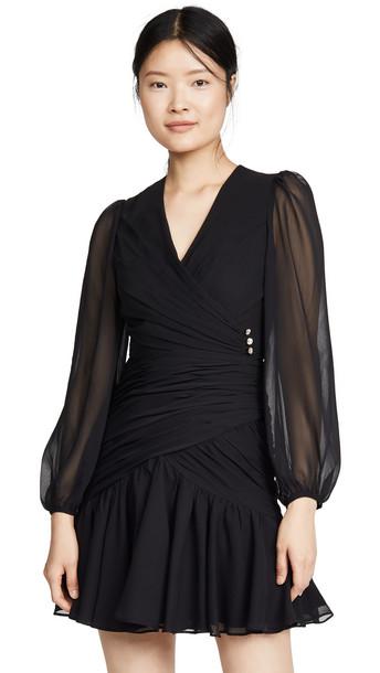 Jill Jill Stuart Ruched V Neck Dress in black