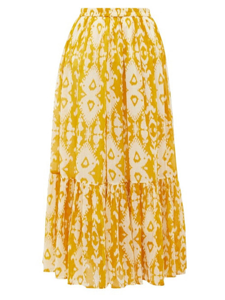 Mes Demoiselles - Sumatra Ikat-print Cotton-voile Skirt - Womens - Yellow Print
