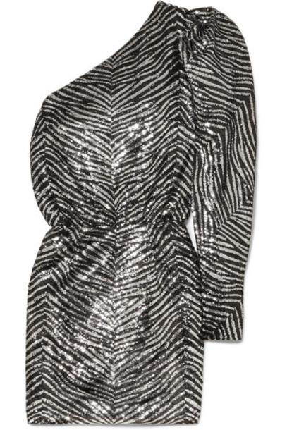 Alexandre Vauthier - One-shoulder Sequined Crepe De Chine Mini Dress - Silver