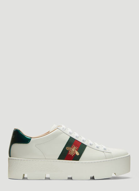 Gucci Ace Embroidered Platform Sneakers in White size EU - 38