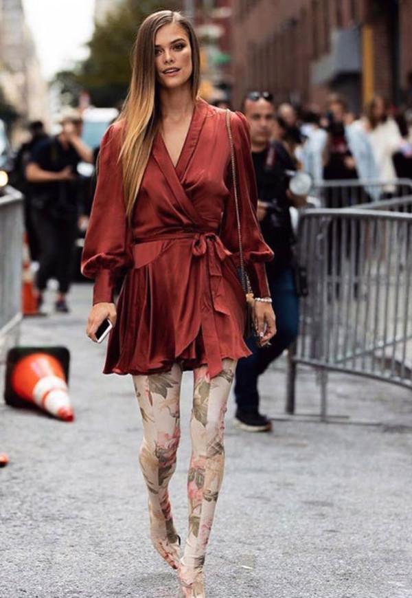 dress wrap dress mini skirt nina agdal celebrity boots fashion week model off-duty fall outfits