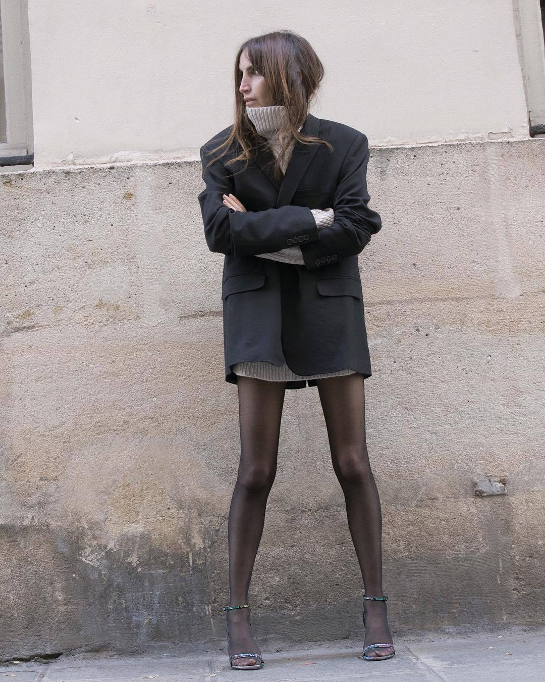 jacket black blazer yves saint laurent high heel sandals balenciaga tights turtleneck sweater