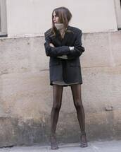 jacket,black blazer,yves saint laurent,high heel sandals,balenciaga,tights,turtleneck sweater