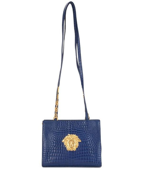 Versace Pre-Owned Medusa crocodile-embossed shoulder bag in blue