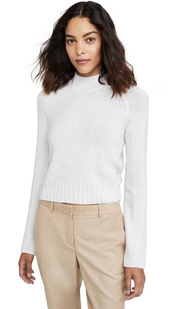 Vince Cashmere Shrunken Mock Neck Sweater in white