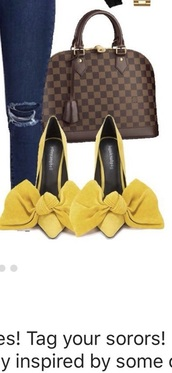 shoes,big bow yellow heels