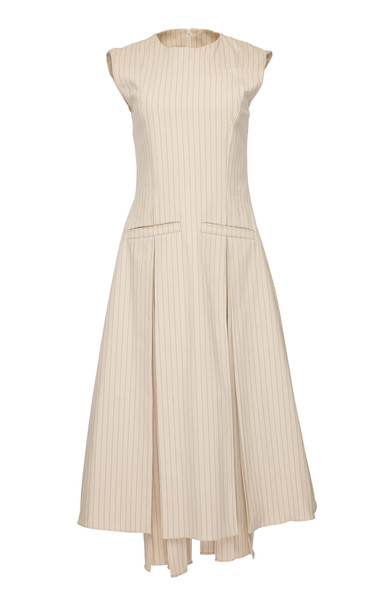 Babukhadia Sleeveless Asymmetrical Dress in white