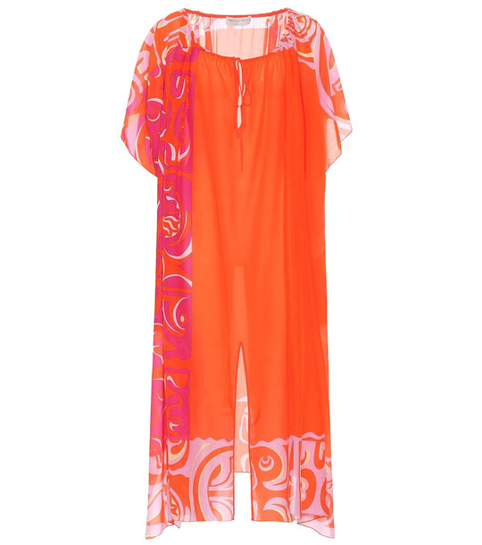 Emilio Pucci Beach Printed cotton and silk kaftan in orange