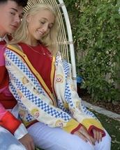 cardigan,emma chamberlain,retro,red,yellow,smiley girl,girl,funny,blue checkered