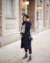 sweater,knitted sweater,grey boots,ankle boots,pants,long coat,zara,chanel bag,black bag
