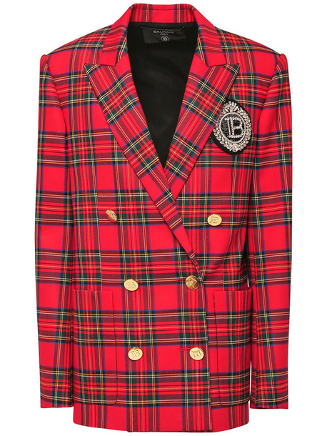 BALMAIN Stretch Tartan Boyfriend Jacket W/ Patch in red / multi