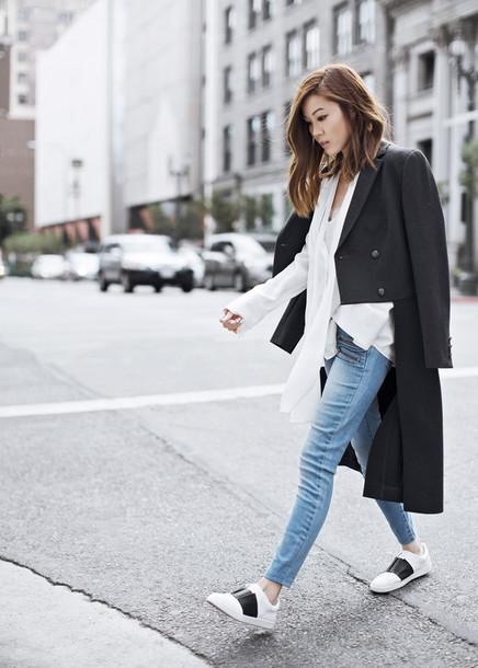 tsangtastic blogger casual black coat hite shirt white sneakers
