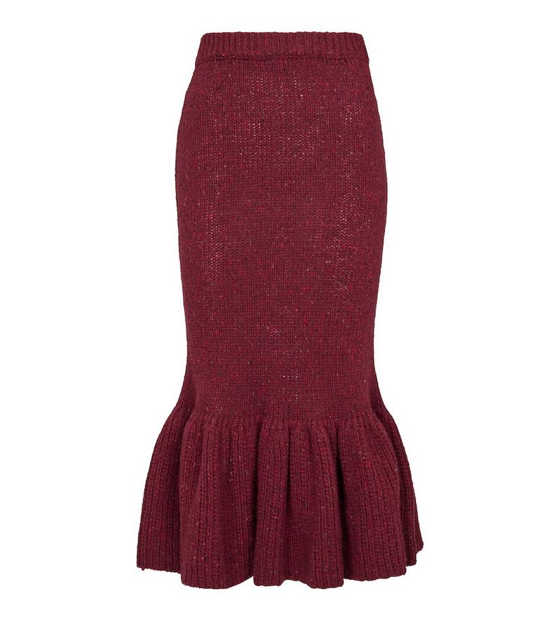 Marni Wool knit midi skirt in red