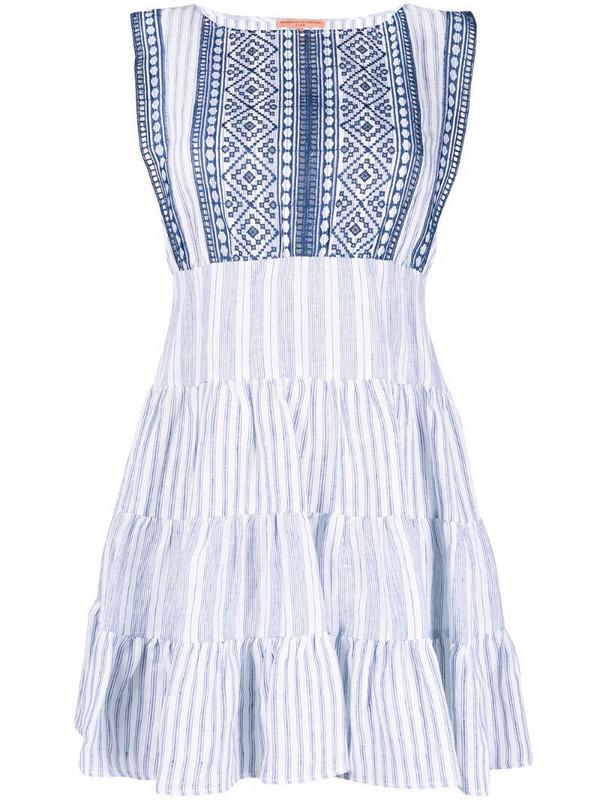 Ermanno Scervino stripe-print tiered short dress in white