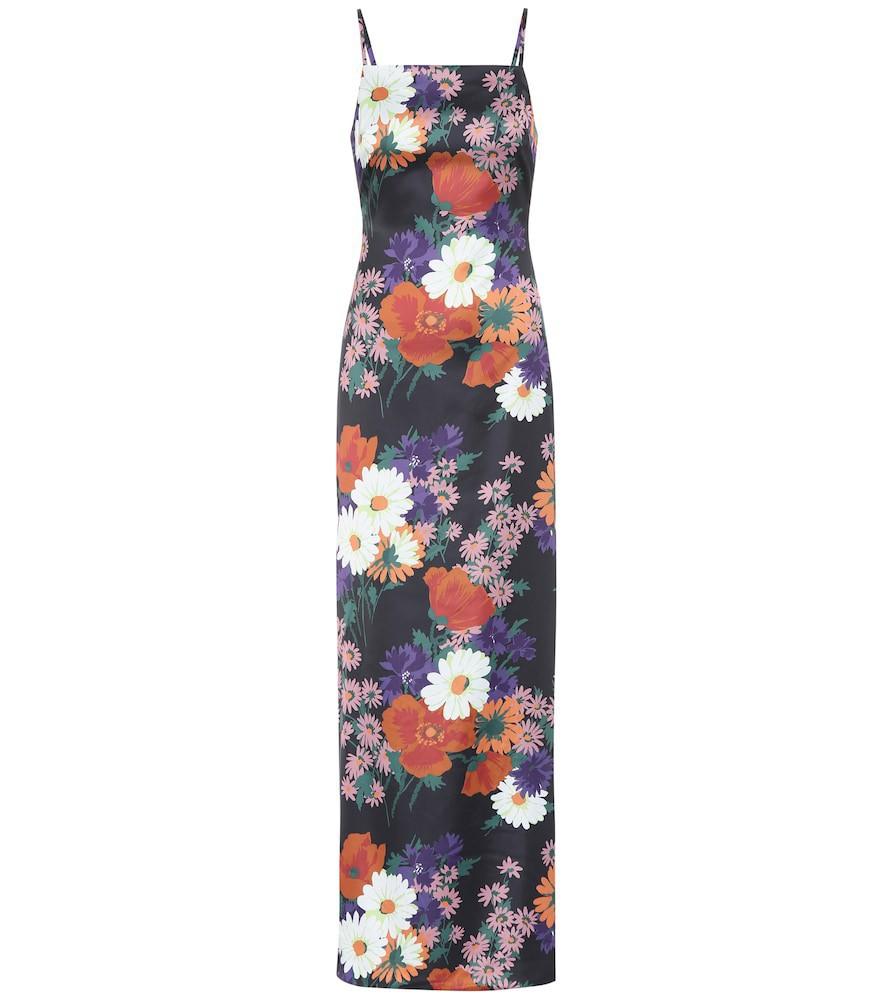 Staud Heidi floral stretch-satin maxi dress