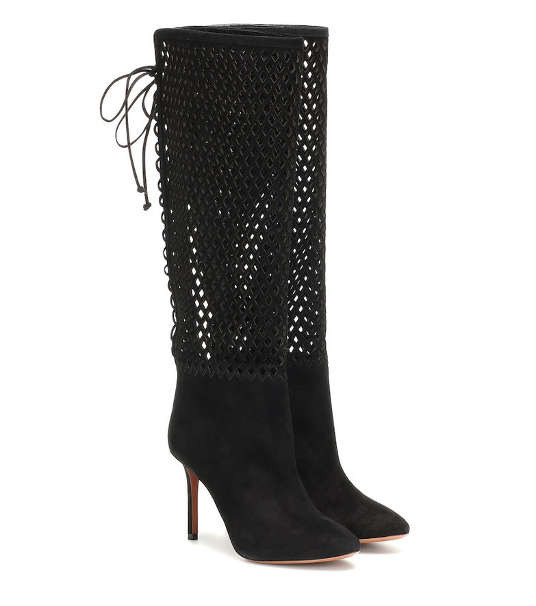 Alaïa Perforated suede knee-high boots in black