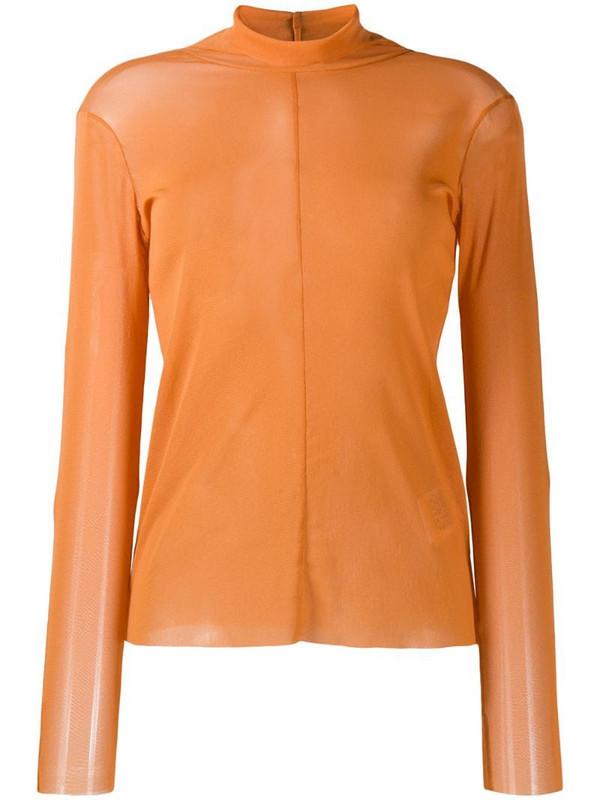 Luisa Cerano sheer plain blouse in orange