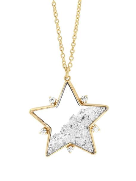 Moritz Glik 18kt yellow gold diamond star shaker pendant necklace in pink