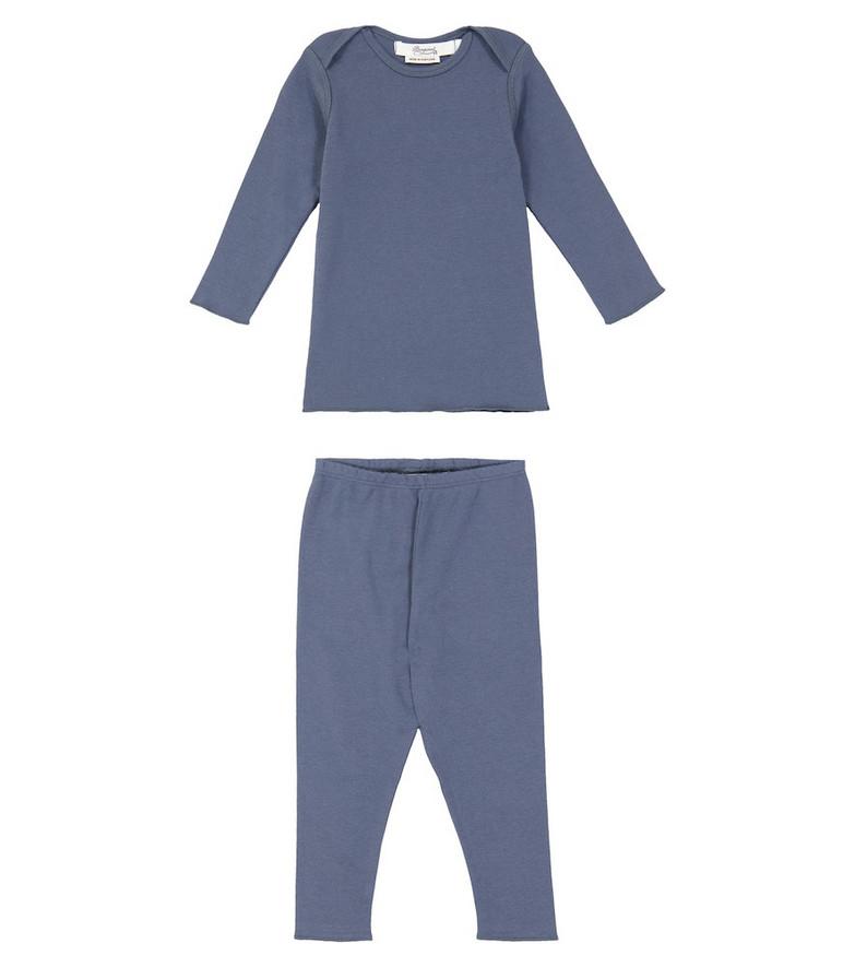 Bonpoint Timi cotton pajama set in blue