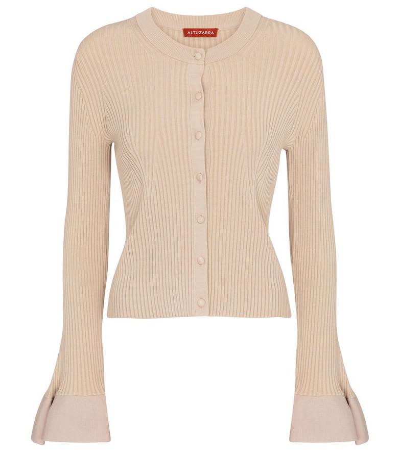 Altuzarra Ayanna ribbed-knit cardigan in beige