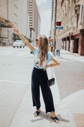 thefashionhour,blogger,pants,blouse,top,shoes,jacket,t-shirt,sunglasses