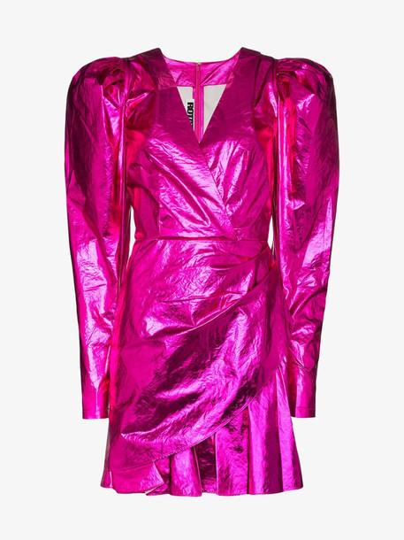 Rotate puff shoulder wrap mini dress in pink