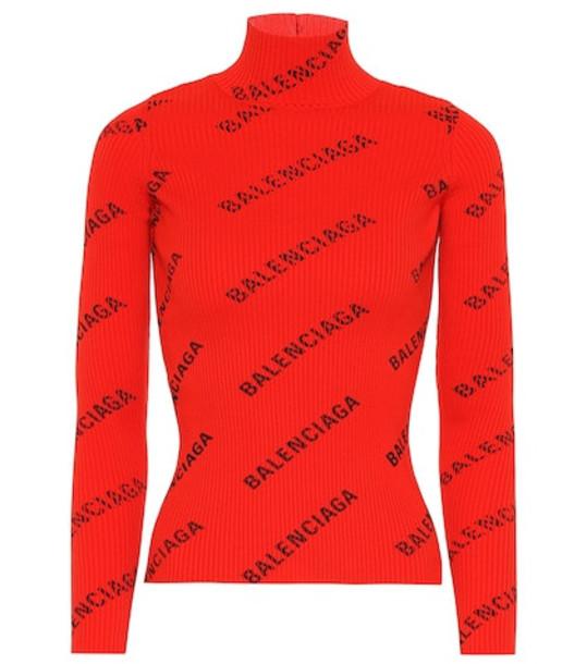 Balenciaga Allover Logo ribbed turtleneck top in red